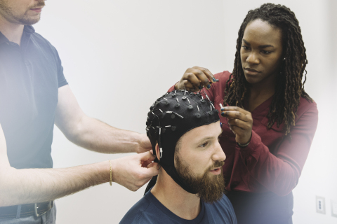 Cognitive Health Technicians from VoxNeuro running a Cognitive Health Assessment™ on a concussion patient. (Photo: Business Wire)