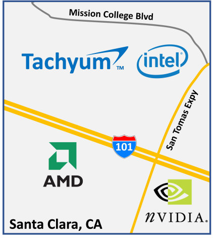 Tachyum joins Intel, AMD, and nVidia with new headquarters in Santa Clara. (Graphic: Business Wire)