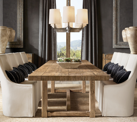 RH INTERIORS 2019 INTRODUCES THE CAYDEN CAMPAIGN DINING TABLE (Photo: Business Wire)