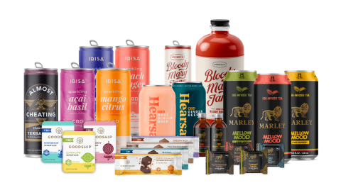 Docklight Brands introduces their portfolio of CBD-infused beverages, chocolates and skin care products in the following brands: Marley, Goodship, Irisa, Hearsay, Bloody Mary Jane and Almost Cheating. They are coming to a local convenience store soon. (Photo: Business Wire)