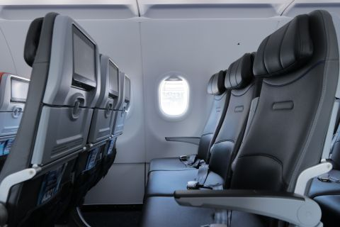 JetBlue's stylish new A321neo seats were designed to maximize comfort with enhanced memory foam cushions, adjustable headrests and more living space. (Photo: Business Wire)