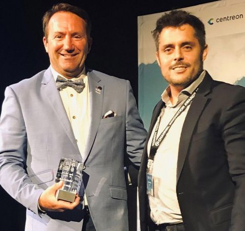 Romain Le Merlus, CEO Centreon N.A. shown above (right) presenting the Diamond Award for Top Open Source Solution to channel partner Luc Villeneuve, President Benchmark Corp. (left) at the Channel Innovation Awards, held on Sept. 24th, 2019 in Toronto. The award was presented to Benchmark for its use of Centreon's IT monitoring platform to help monitor the full scope of clients' increasingly complex IT ecosystems. Centreon's solution also took the Gold Award in the same category with its channel partner CPU, a Quebec company with expertise in technology, infrastructure, and product deployment. CPU uses the Centreon solution to better meet the IT monitoring needs of its clients. The annual channel awards event is hosted by IT World Canada and recognizes the achievements of IT solution providers who have developed innovative products and services that help their customers thrive. (Photo: Business Wire)
