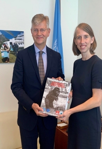 U.S. Ambassador Cherith Norman Chalet (right) presents a copy of one of 12 U.S.-developed training manuals to UN Under-Secretary-General for Peace Operations Jean-Pierre Lacroix (left). (U.S. Department of State photo). (Photo: Business Wire)