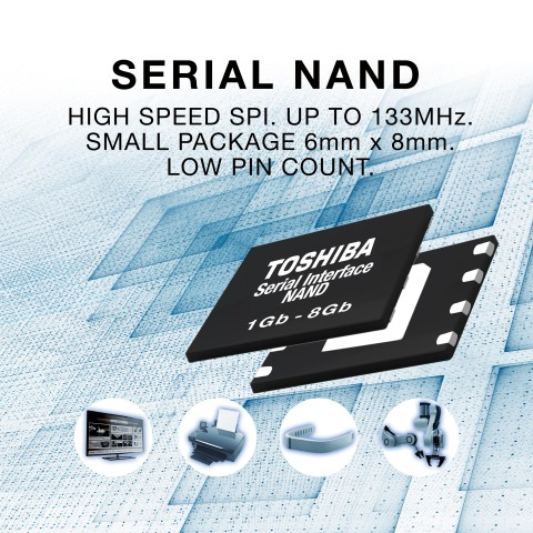 Toshiba Memory's second-generation Serial Interface NAND can be used in a wide range of consumer and industrial applications that require high-speed data transfers, including flat screen TVs, printers, wearable devices, and robots. (Graphic: Business Wire)