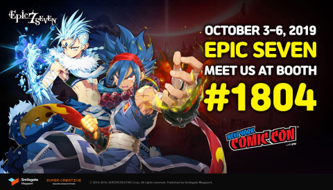 Epic Seven, a turn-based mobile RPG developed by Super Creative and serviced by Smilegate Megaport will open its booth at New York Comic Con 2019 on Oct. 3 to connect with fans in North America. Epic Seven will greet visitors at Booth # 1804 of New York Comic Con 2019. The booth will feature a Photo Zone for fans to take fun pictures using an assortment of Epic Seven props, an Exhibition Space with artwork and Luna figurines, a Cosplay Zone for a performance from the cosplay team, a Demo Zone to play the game, and more. (Graphic: Business Wire)