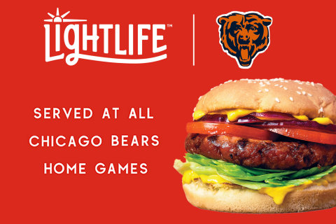 On game days, the Lightlife® Burger will be served at concessions and in the club suites at Soldier Field, and from a full-service Lightlife® Burger Cart in the north endzone concessions area near Section 256. (Photo: Business Wire)