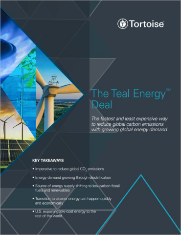 Tortoise's Teal Energy Deal White paper highlights the urgent need to reduce global carbon emissions and how to quickly and economically transition to cleaner energy. (Graphic: Business Wire)