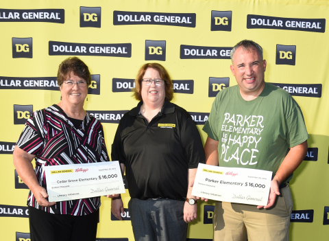 Dollar General donated $16,000 to two area schools to commemorate the event. From left: Peggy Bunch, Cedar Grove Elementary; Cindy Pryor, Dollar General; Chris Coan, Parker Elementary. Photo by Tim Allen Photography.