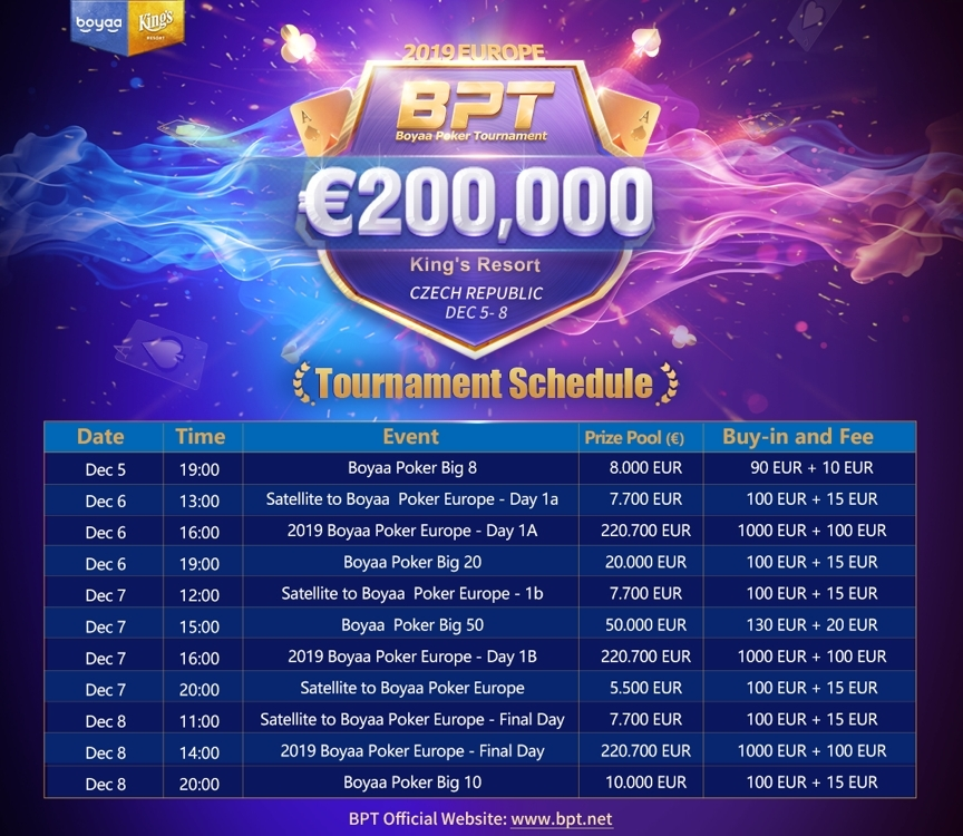 2019 Boyaa Poker Tournament Europe Schedule Announced Business Wire