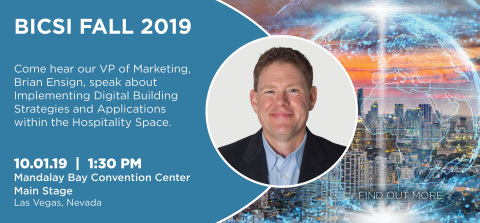 """Our Vice President of Marketing, Brian Ensign, speaks on a BICSI Fall Expo panel of communications industry leaders about """"Implementing Digital Building Strategies and Applications within the Hospitality Space"""" on Oct. 1 at 1:30pm! (Photo: Business Wire)"""