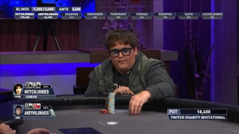 Andy Milonakis playing his hand against Mitch Jones (Graphic: Business Wire)