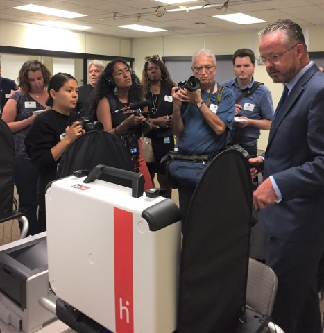 Orange County Registrar Neal Kelley demonstrated the easy-to-use Verity system to the media within days of the County's approval. Verity will enable Orange County to move to popular and convenient Vote Centers. (Photo: Orange County Registrar's Office)