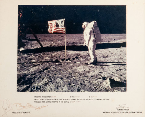 """This framed photograph """"Man on the Moon"""" signed by Apollo 11 astronauts Neil Armstrong, Buzz Aldrin and Michael Collins will be among the U.S. space program memorabilia offered at Abell Auction Company's Oct. 6 live and online sale. (Photo: Business Wire)"""