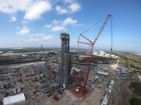 Furnace tower topped off: maximum height of 457 feet has been reached. (Photo: Business Wire)