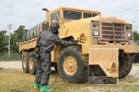 FLIR's Agentase C2 spray quickly changes color on a surface if a chemical warfare agent is present. (Photo: Business Wire)