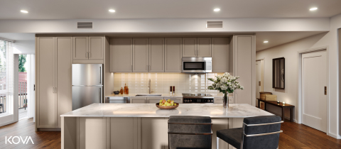 KOVA offers general contractors, developers and designers a complete suite of fully coordinated materials and finishes, including light fixtures, flooring and door and cabinetry hardware. (Photo: Business Wire)