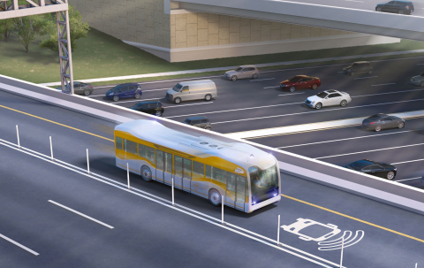 Rendering courtesy of AECOM. Depiction of full-sized, full-speed bus in a live service environment. (Photo: Business Wire)