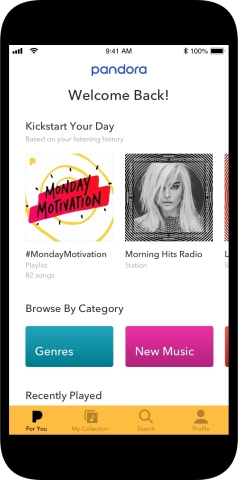 "The ""For You"" personal discovery feed featured on Pandora's redesigned new mobile app. (Graphic: Business Wire)"