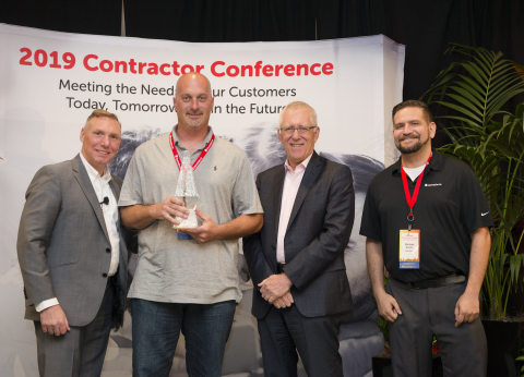 Names (L-R): Sylvester Criscone, Vice President, Contractor Management and Administration; Bob Poth, BP Electric; John Kitzie, CEO, HomeServe North America; Michael Bourke, Regional Operations Manager, HomeServe (Photo: Business Wire)