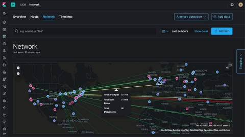 With the 7.4 release, the SIEM application introduces a pew pew map based on live data, that analysts can search, filter, and explore in real time (Graphic: Business Wire)