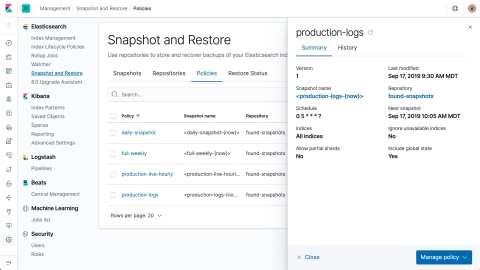 In 7.4, we're introducing snapshot lifecycle management, which allows an administrator to define policies that manage when and how often snapshots are taken (Graphic: Business Wire)