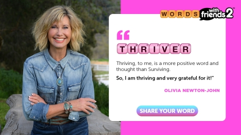 Olivia Newton John for #WordsWithHope from Zynga's Words With Friends (Photo: Business Wire)