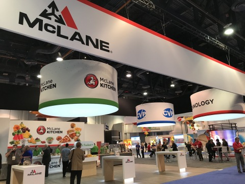 McLane's 2019 NACS Show booth showcases technology, CVP and McLane Kitchen. (Photo: Business Wire)