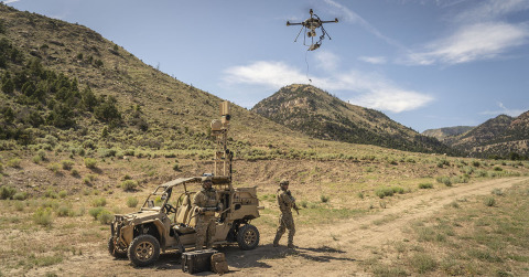 For military use and other applications, tethered drones can deliver persistent situational awareness. They connect to a base station, or vehicle, that provides continuous power and secure communications. (Photo: Business Wire)