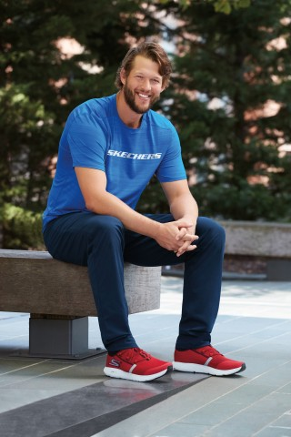 Los Angeles Dodgers all-star pitcher Clayton Kershaw signs with Skechers. (Photo: Business Wire)