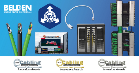 Belden cable products were recognized at BICSI's 2019 Fall Conference, honoring solutions that stand out for innovation (Photo: Business Wire)