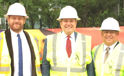 Fluor CEO Carlos Hernandez (center) at Chicago Transit Authority's Red & Purple Line groundbreaking today along with Greg Amparano, senior VP (right) & Dago Beek, project director (left) (Photo: Business Wire)