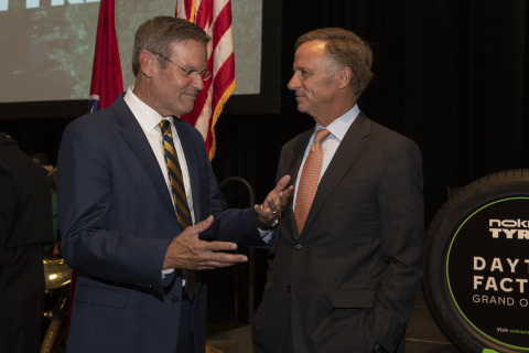 Tennessee Governor Bill Lee and former Tennessee Governor Bill Haslam attend the grand opening of the Nokian Tyres Dayton, Tenn., factory. Photo Credit: Neelu Eldurkar