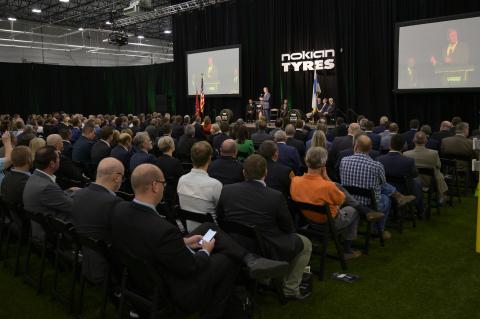 Governor Bill Lee speaks at the grand opening of the Nokian Tyres factory in Dayton, Tenn. Photo Credit: Neelu Eldurkar