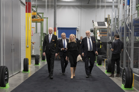 Nokian Tyres CEO Hille Korhonen arrives for the grand opening of the company's Dayton, Tenn., factory. The $360 million facility will produce 4 million tires annually once it reaches maximum production. Photo Credit: Neelu Eldurkar