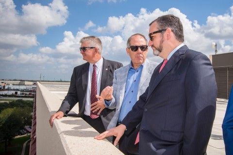 Sen. Cruz visits with Executive Director Roger Guenther, far left, and Port Houston Chairman Ric Campo (Photo: Business Wire)