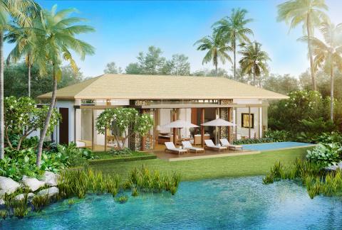 Lush landscape and lake views surround each private pool villa (Photo: Business Wire)