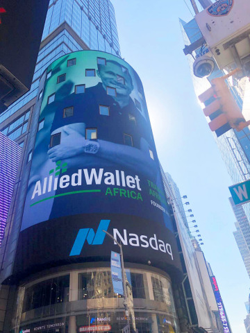 Allied Wallet on NASDAQ's MarketSite screen in Times Square. (Photo: Business Wire)