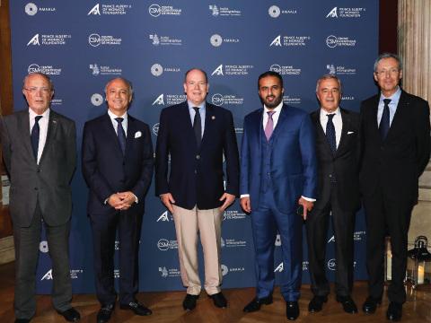H.E. Mr. Bernard Fautrier (Vice President, CEO, The Prince Albert II of Monaco Foundation), Mr. Nicholas Naples (CEO, AMAALA Company), HSH Prince Albert II of Monaco, Mr. Turki Al Sudairi (Board Member, AMAALA Company), Pr. Patrick Rampal (President of The Centre Scientifique de Monaco), Mr. Robert Calcagno (CEO, The Oceanographic Institute) sign partnership agreement in Monte Carlo (pictured from L-R) (Photo: AETOSWire)