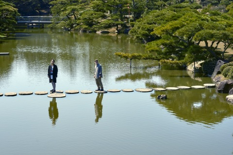 "Theme: Japanese Garden (Nakazu Bansyouen), Work: Explanation of ""Score of Presence - Gravity of Bird"" (Photo: Business Wire)"