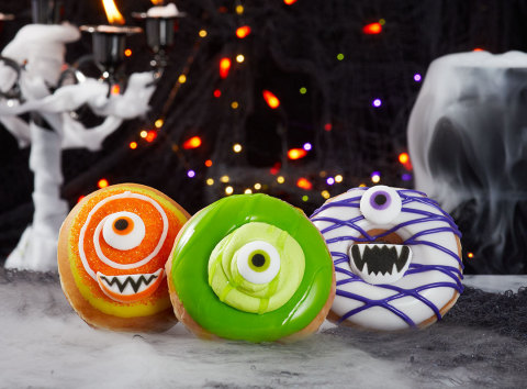 "Krispy Kreme's new 'Monster Batch' Doughnuts Creating Delicious Halloween Mayhem Now Through Oct. 31. Customers in costume at shops will collect FREE doughnut ""reward"" on Halloween. (Photo: Business Wire)"