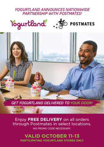 Yogurtland Teams Up with Postmates to Provide Customers with More Delivery Options (Graphic: Business Wire)