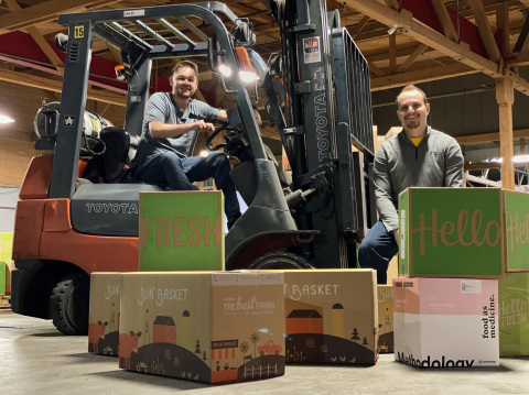 Daniel Sokolovsky, founder of AxleHire, and Troy Lester, co-founder of Covet Shipping, celebrate AxleHire's acquisition of Covet Shipping and expansion of their last mile delivery service to New York City. (Photo: Business Wire)