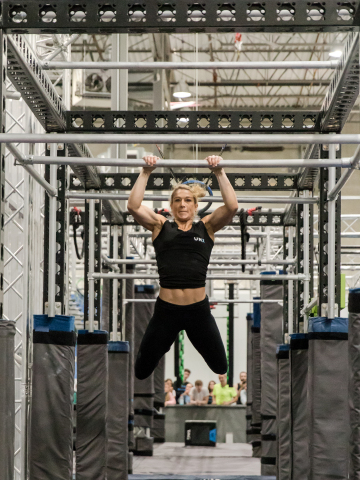 Beginning today, UNX has launched UNX NOW, the first-ever centralized streaming network specifically designed for watching professional ninja sport competitions and interacting with top ninja athletes, including Jessie Graff (pictured). Credit: Katy Zimmerman Photography
