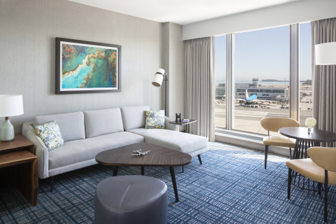 SFO runway view from Grand Suite Parlor at newly open Grand Hyatt at SFO (Photo: Business Wire)