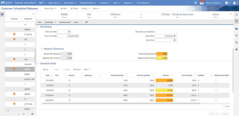 The new variance indicator in Customer Scheduled Releases shows whether a customer scheduled release has a positive or negative variance and the actual percentage of the variance.