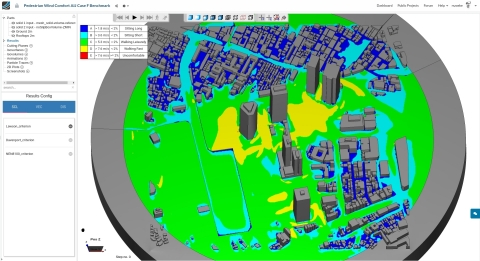 Screenshot of a pedestrian wind comfort analysis with SimScale (Graphic: Business Wire)