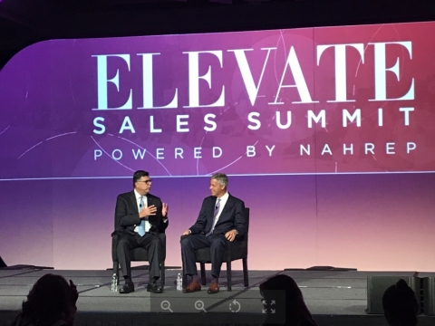 Radian's Senior Executive Vice President and Chief Franchise Officer Brien McMahon and NAHREP Chief Executive Officer Gary Acosta on stage at the NAHREP 2019 National Convention. (Photo: Business Wire)