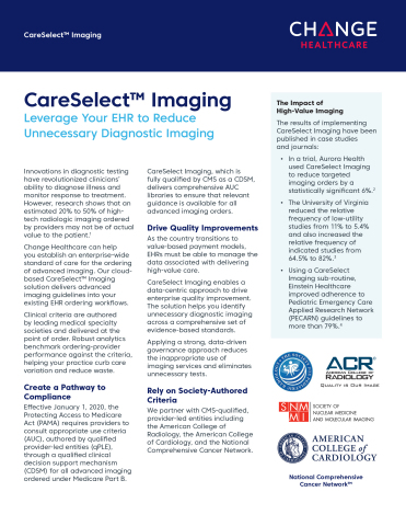 Change Healthcare CareSelect Imaging Fact Sheet (Graphic: Business Wire)