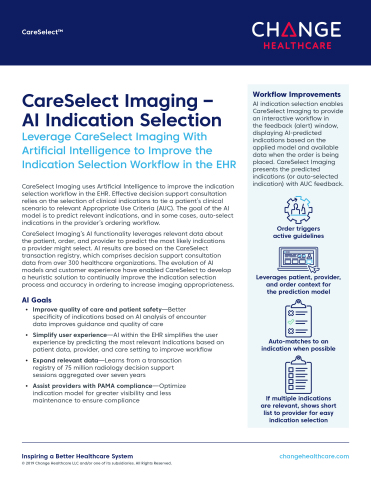 Change Healthcare CareSelect Imaging – AI Indication Selection (Graphic: Business Wire)