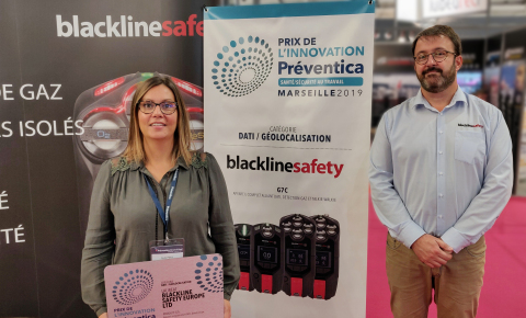 Aude Petit and José Leveque from Blackline Safety accept the Préventica Prize for Innovation in Marseille, France (Photo: Business Wire)